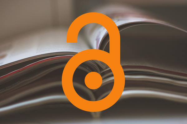 pile of journals and orange open padlock open access logo