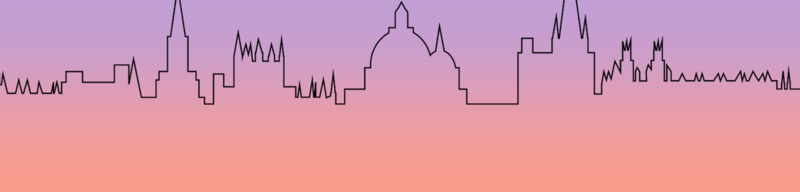 Line art Oxford Skyline at sunset. Adapted from work byBob Comix